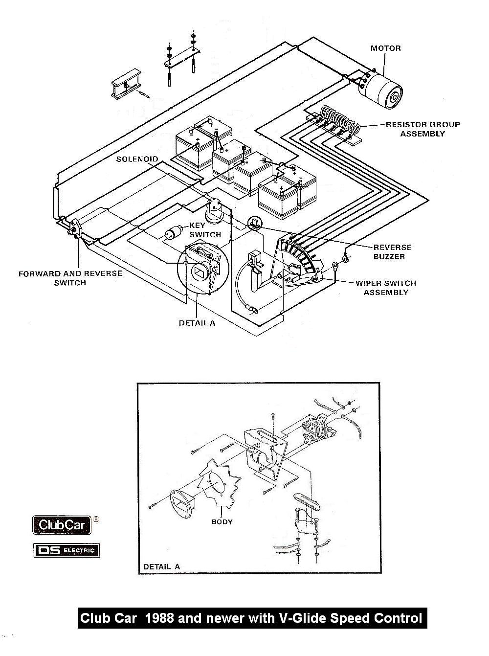 CC_88_newer_Wiper_wiring club car golf cart wiring diagram 36 volt circuit and schematics Club Car Battery Wiring at bayanpartner.co