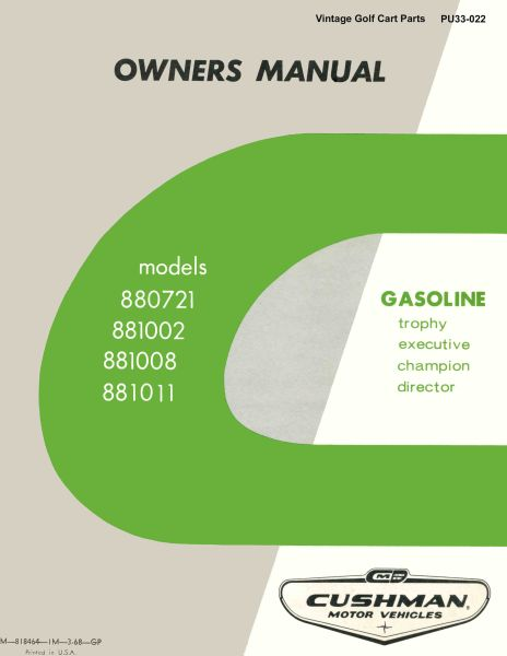 PU33-022 - Service Manual, Gas, '65-'66