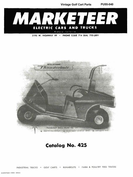 PU55040  Parts Manual  425  Vintage    Golf       Cart    Parts Inc