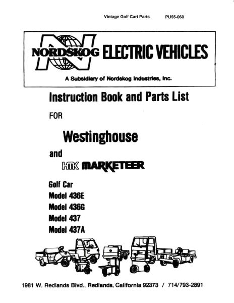 PU55-060 - Parts Manual, 436 & 437 - Vintage Golf Cart Parts Inc.