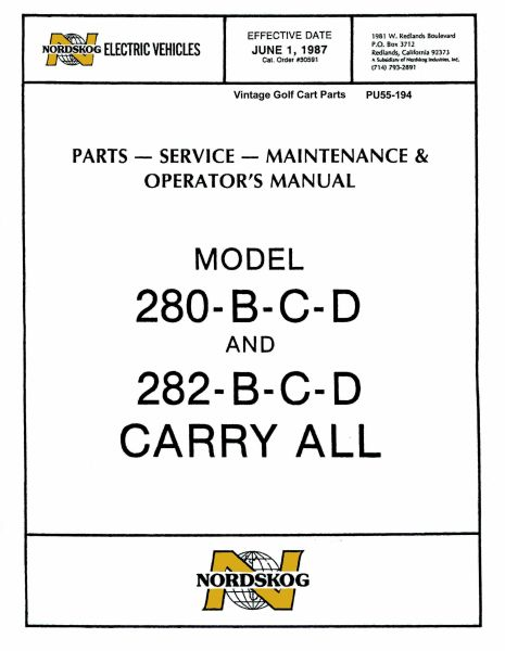 PU55-194 - Parts & Sercice Manual, 1987, B-C-D