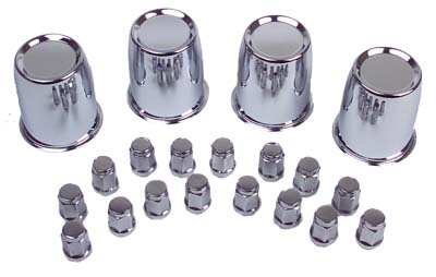 "WH11-242 - Chrome Center Cap & Nut Set, 1/2""-20"