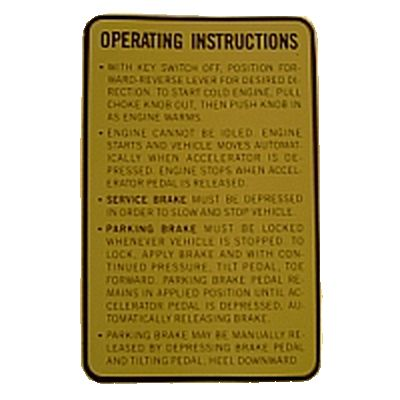 BD11-740 - Operating Instructions Decal