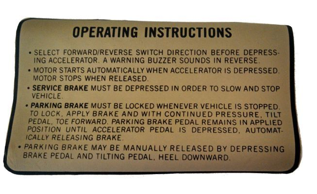 BD11-744 - Operating Instructions Decal