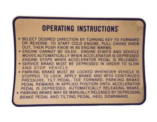 BD11-746 - Operating Instruction Decal