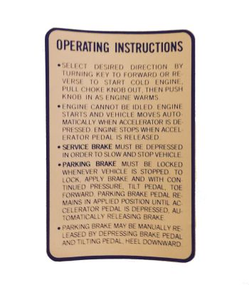 BD11-747 - Operating Instruction Decal