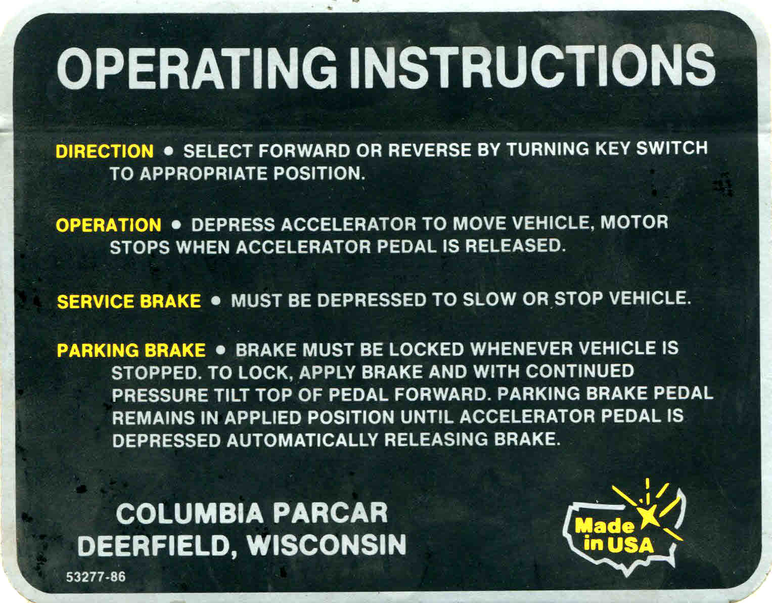 BD11-756 - Operating Instruction Decal