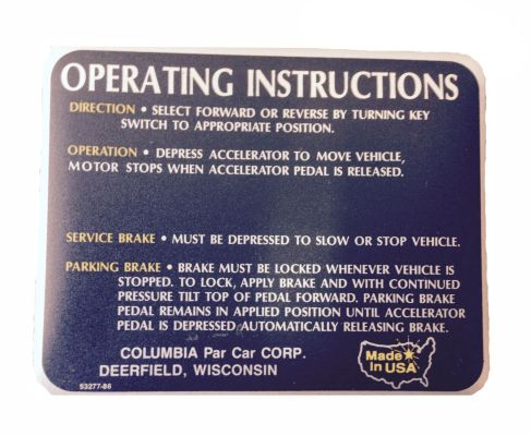 BD11-757 - Operating Instruction Decal