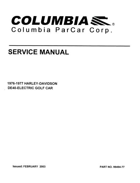 service manuals electric vintage golf cart parts inc rh vintagegolfcartparts com Club Car Service Manual PDF 1994 columbia par car service manual
