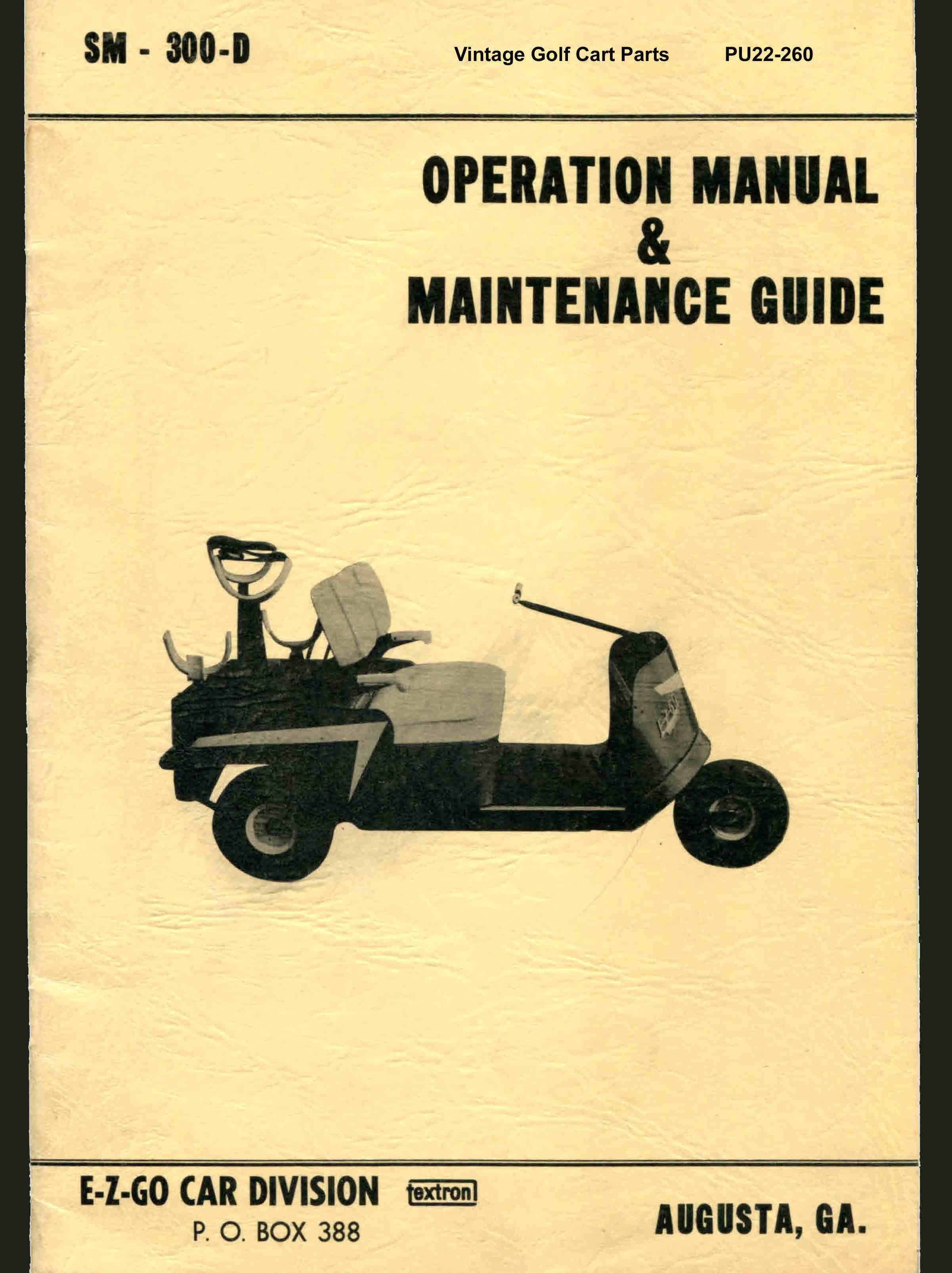 Vintage Golf Cart Wiring Diagram Service Manuals Electric Parts Inc Pu22 260 Operation Maintenance Manual