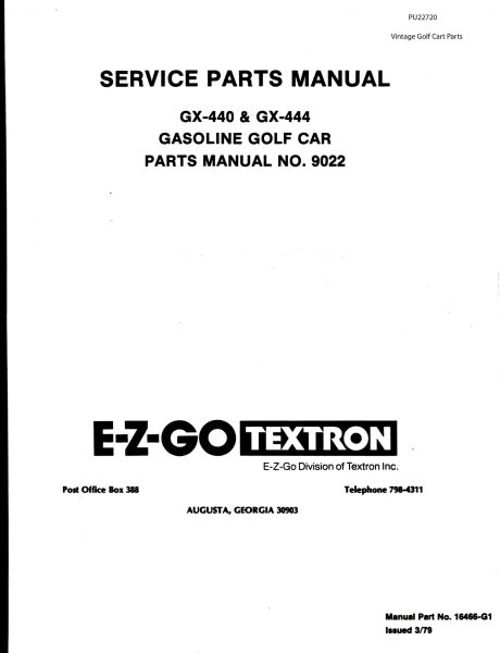 PU22-720 - Parts Manual, Gas, '79