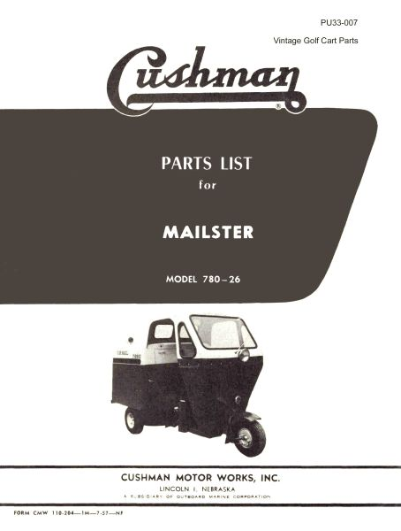 PU33-007 - Parts Manual, Gas, '57-'58