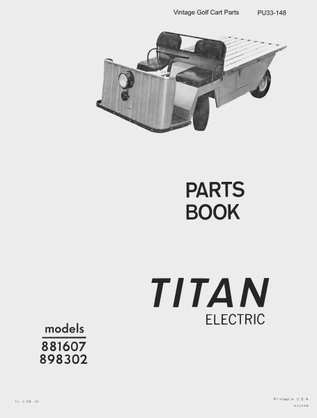 PU33-148 - Parts Manual, Electric, '68-'70